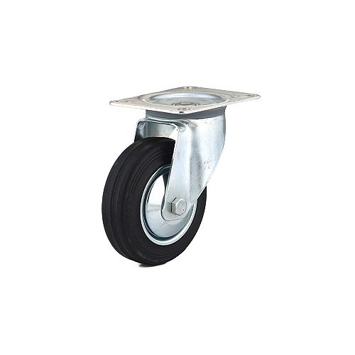 Richelieu Industrial Euro Series Rubber Caster, Swivel Without Brake, with Plate, Black