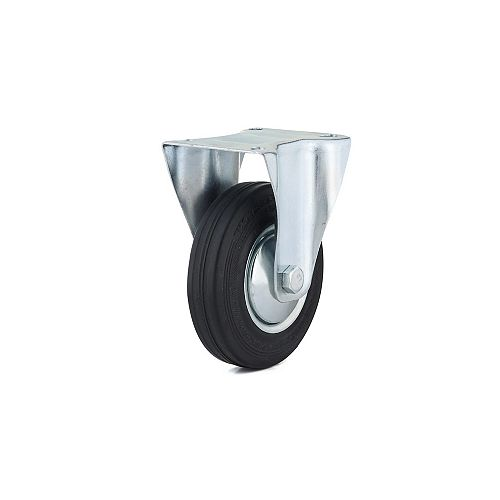 Richelieu Industrial Euro Series Rubber Caster, Fixed, with Plate, Black