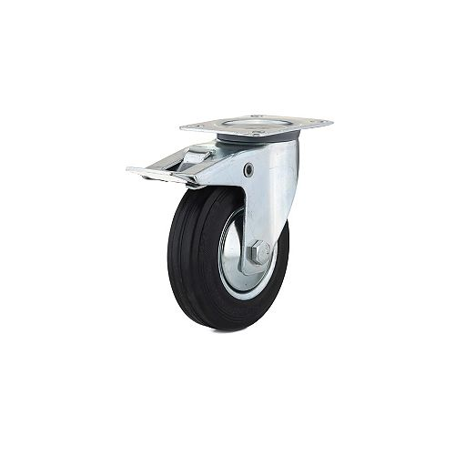 Industrial Euro Series Rubber Caster, Swivel with Double-Lock Brake, with Plate, Black