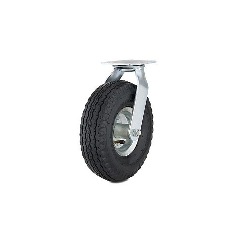 Industrial Pneumatic Casters, Swivel Without Brake, with Plate, Black