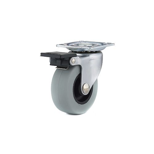 Industrial Gray Rubber Caster, Swivel with Brake, with Plate, Gray