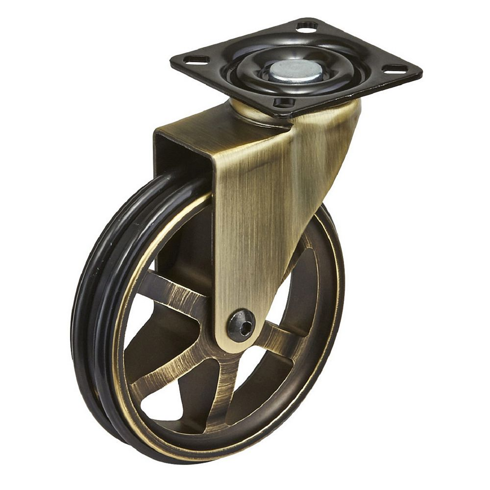 Richelieu Aluminum Single Wheel Vintage Caster, Swivel Without Brake, with Plate, Rustic Brass