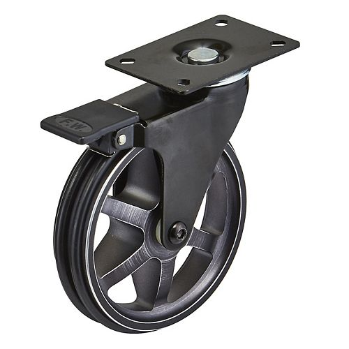 Aluminum Single Wheel Design Caster, Swivel with Brake, with Plate, Rustic Iron