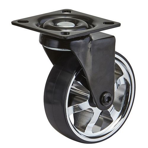 Aluminum Single Wheel Design Caster, Swivel Without Brake, with Plate, Black/Chrome