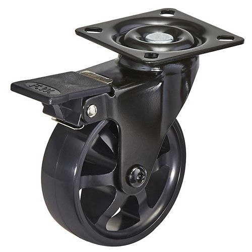 Aluminum Single Wheel Design Caster, Swivel with Brake, with Plate, Black