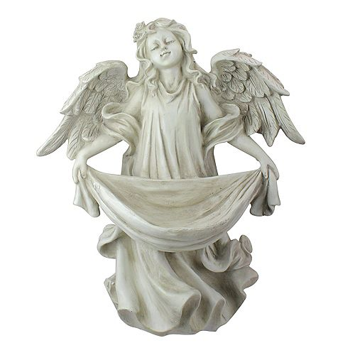 "Northlight 18.5"" Serene Angel Bird Feeder Outdoor Garden Statue"