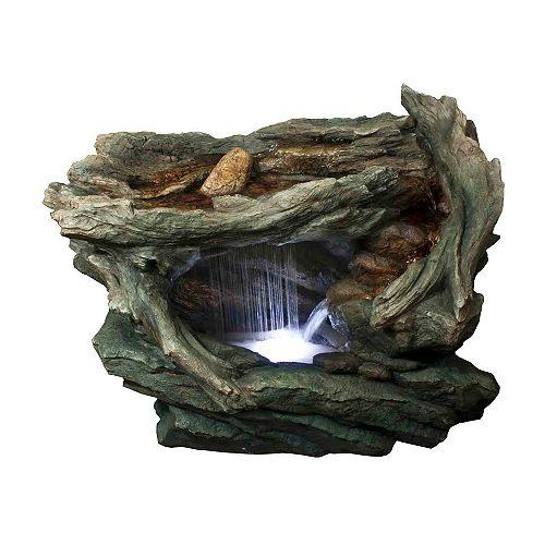 """31"""" LED Lighted Grotte de forêt avec des pierres Extérieur Jardin Fontaine d'eau"""