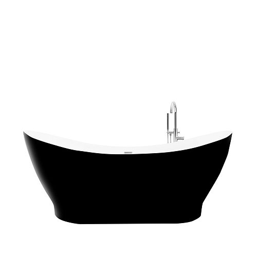 A&E Bath and Shower Polar Black Matte 5.5-ft. Acrylic Free-Standing Oval Bathtub with Center Drain