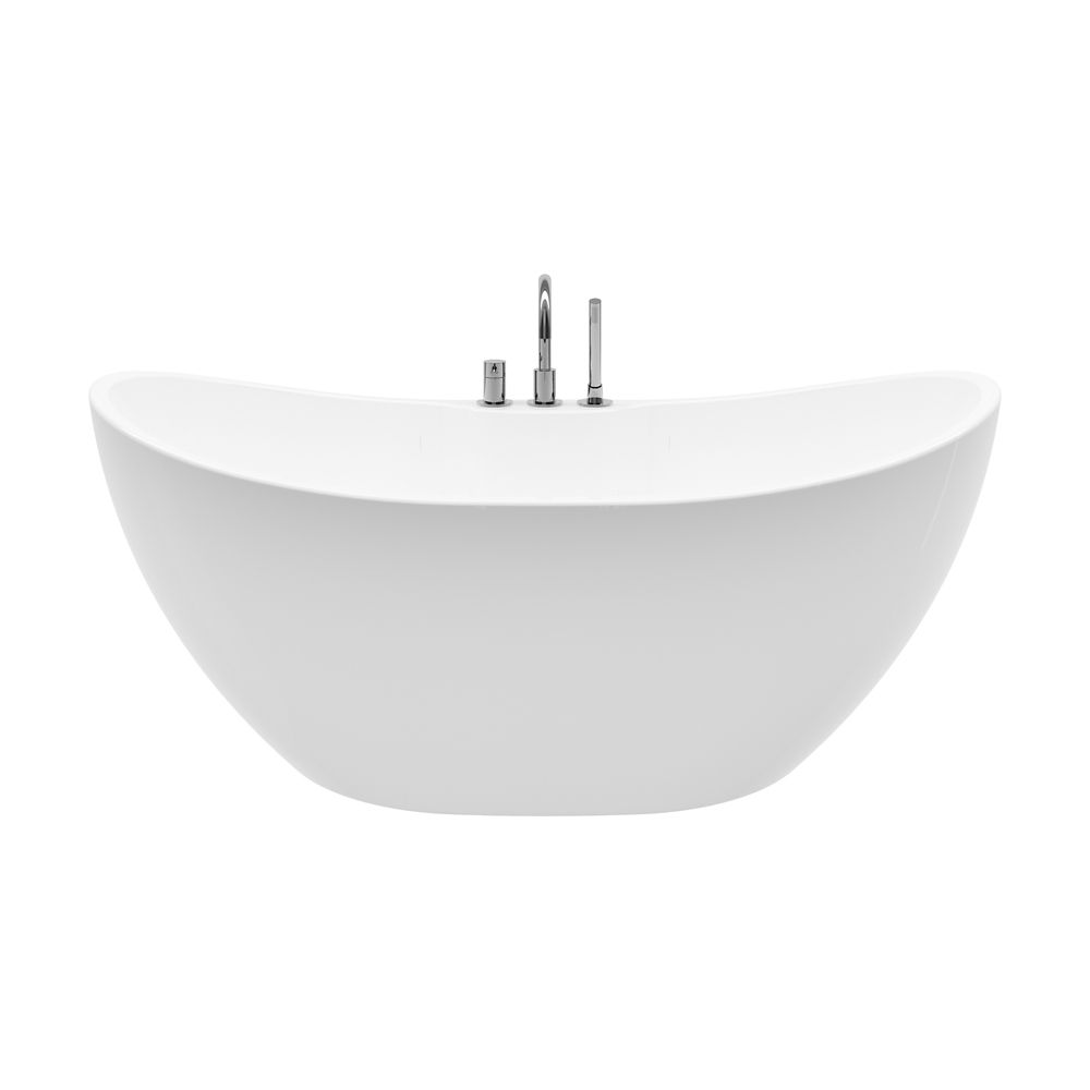 Retrofit White 4.6-ft. Acrylic Free-Standing Oval Bathtub with Center Drain