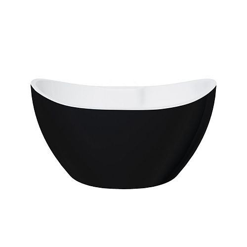A&E Bath and Shower Retrofit Black Matte 4.6-ft. Acrylic Free-Standing Oval Bathtub with Center Drain