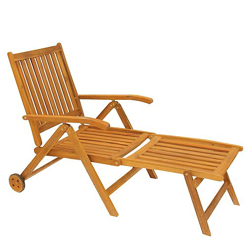 """55"""" Brown Acacia Wood Outdoor Patio Chaise Lounge Chair"""