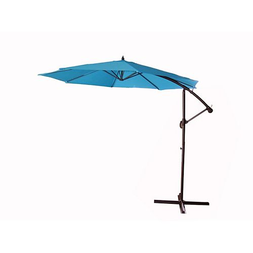 Northlight 10ft Offset Outdoor Patio Umbrella with Hand Crank  Turquoise Blue