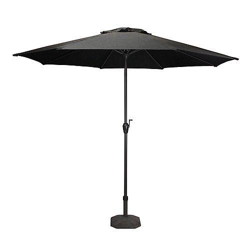 9ft Outdoor Patio Market Umbrella with Hand Crank and Tilt  Black