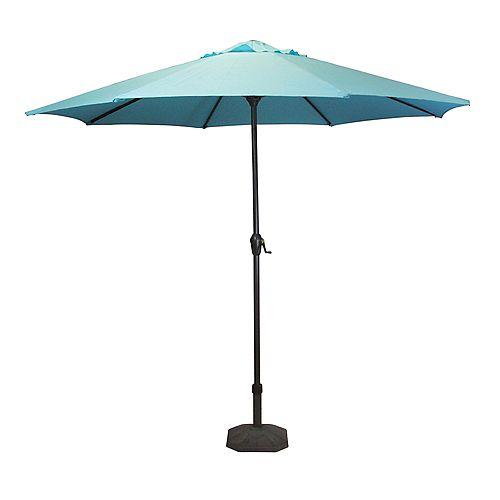 9ft Patio extérieur Parasol de marché avec Manivelle et Tilt Turquoise Bleu