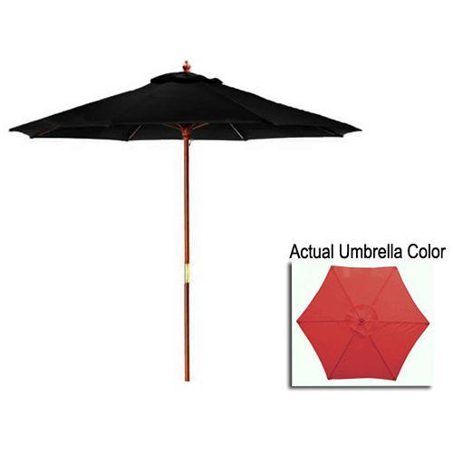 9ft Outdoor Patio Market Umbrella with Wood Pole  Burgundy