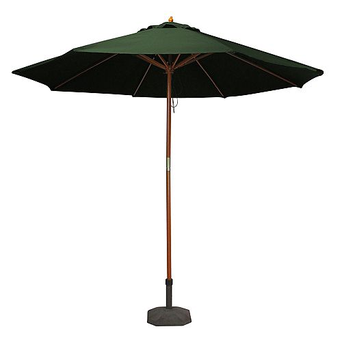 9ft Outdoor Patio Market Umbrella with Wood Pole  Hunter Green