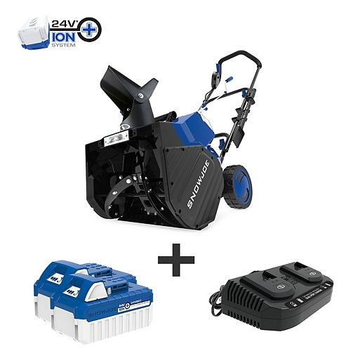 Snow Joe 18-inch 48V Cordless Electric Snow Blower Kit with 2 x 4.0 Ah Batteries + Charger
