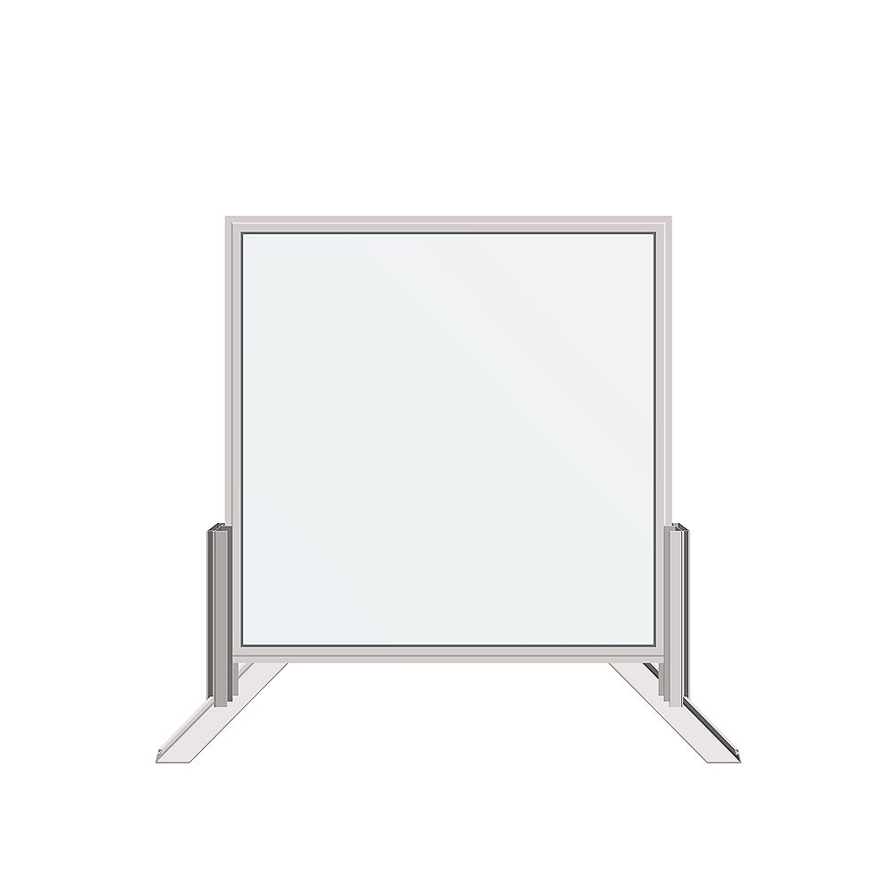 Dusco Security 30 in. x 30 in. Desk-Mounted Clear Sanitary Glass Shield, Sneeze and Cough Guard