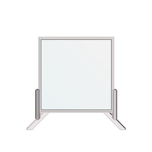 30 in. x 30 in. Desk-Mounted Clear Sanitary Glass Shield, Sneeze and Cough Guard
