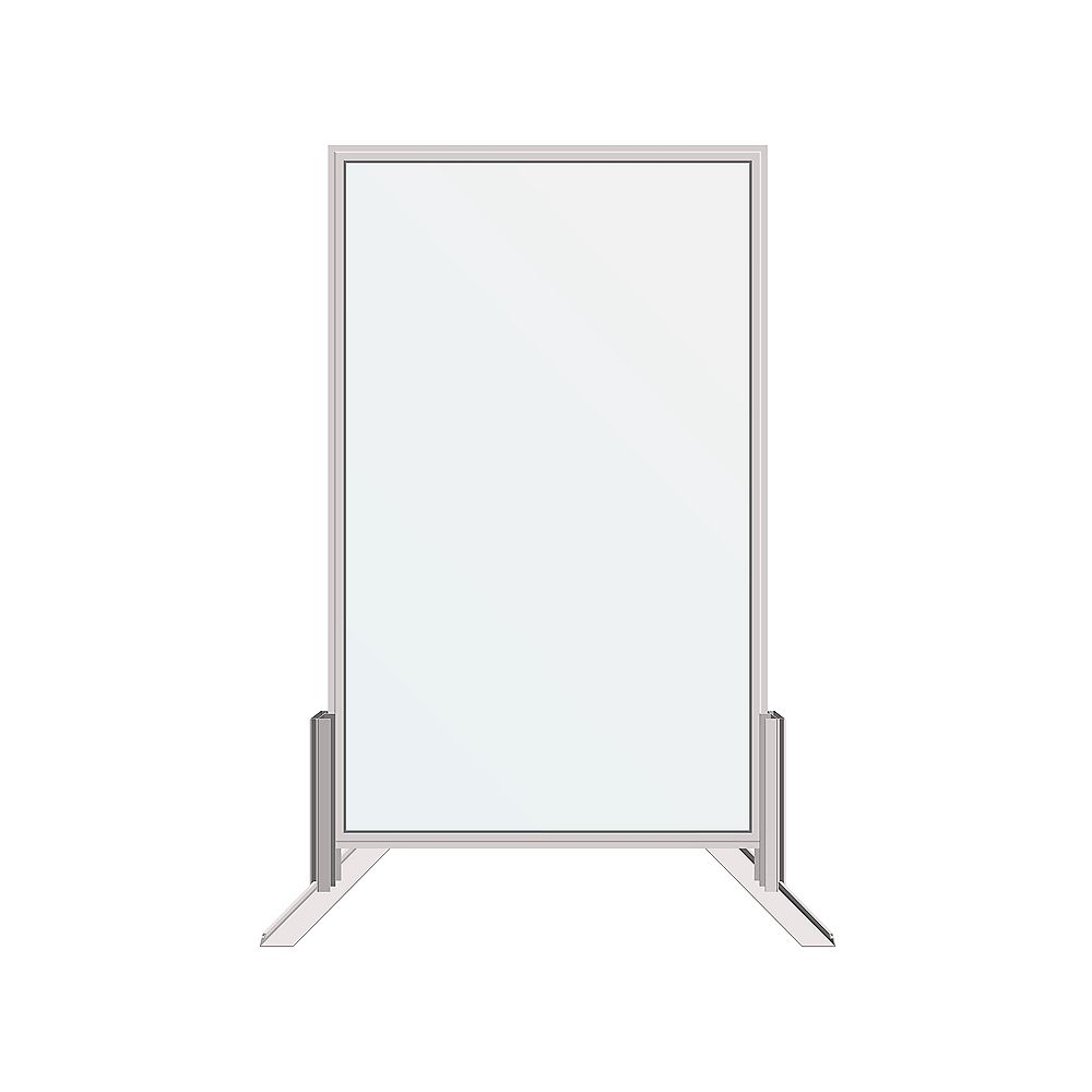 Dusco Security 30 in. x 48 in. Floor or Desk-Mounted Clear Sanitary Glass Shield, Sneeze and Cough Guard