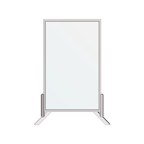 30 in. x 48 in. Floor or Desk-Mounted Clear Sanitary Glass Shield, Sneeze and Cough Guard