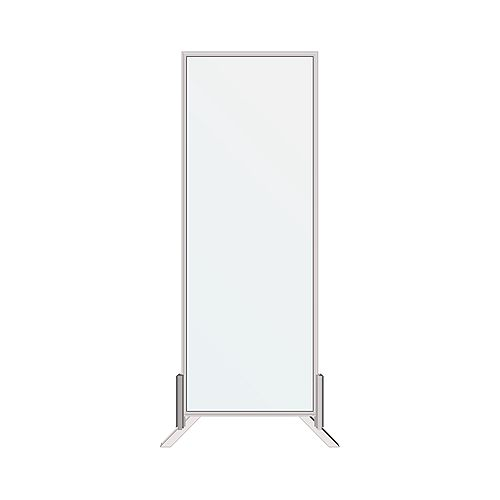 30 in. x 80 in. Floor or Desk-Mounted Clear Sanitary Glass Shield, Sneeze and Cough Guard