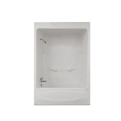 MAAX Figaro I 59 in. x 32 in. x 85 in. Acrylic Left Drain 1-Piece Tub Shower With Roof Cap in White