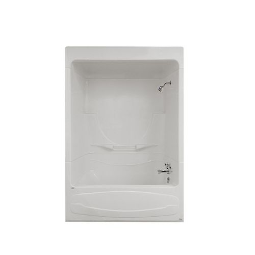 MAAX Figaro I 59 in. x 33 in. x 85 in. Acrylic Right Drain 3-PieceTub Shower With Roof Cap in White
