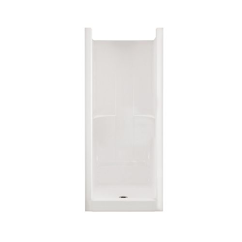 Jupiter F32 32 in. x 33 in. x 74 in. Fiberglass Center Drain 1-Piece Shower with in White
