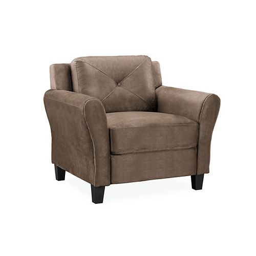 Hobart Chair Upholstered Microfiber Fabric Rolled Arms, Brown
