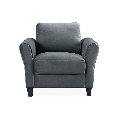 Wester Chair Rolled Arm Microfiber, Dark Grey