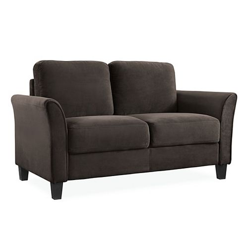 Wester 2-Seat Curved Arm Microfiber Loveseat, Coffee