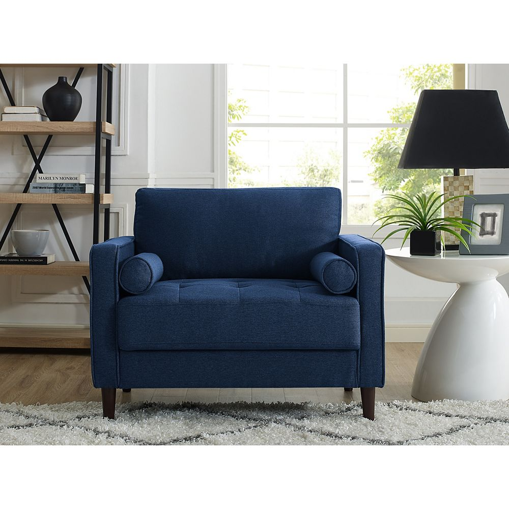 Lifestyle Solutions Lancaster Chair with Upholstered Fabric and Eucalyptus Wood Frame, Navy Blue
