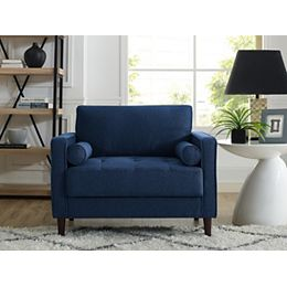 Lancaster Chair with Upholstered Fabric and Eucalyptus Wood Frame, Navy Blue