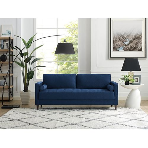 Lancaster Sofa with Upholstered Fabric and Eucalyptus Wood Frame, Navy Blue