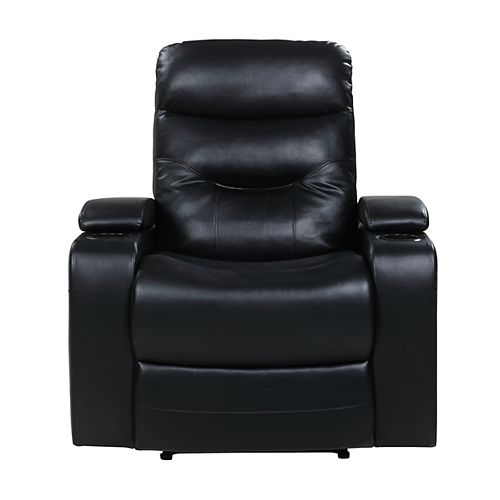 Stamford Recliner Chair w. LED Cup-holder & Storage Faux Leather, Black