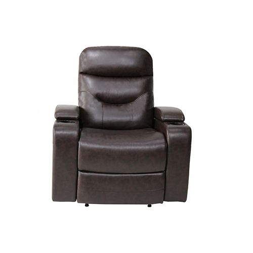 Stamford Recliner Chair w. LED Cup-holder & Storage Faux Leather, Java