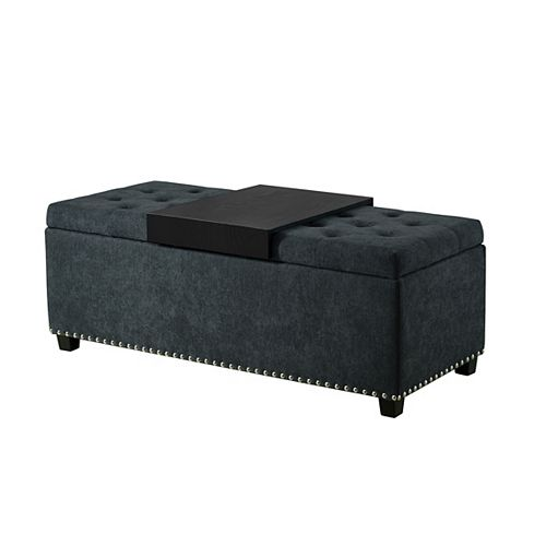 Ruston Functional Bench with Storage and Tray, Charcoal