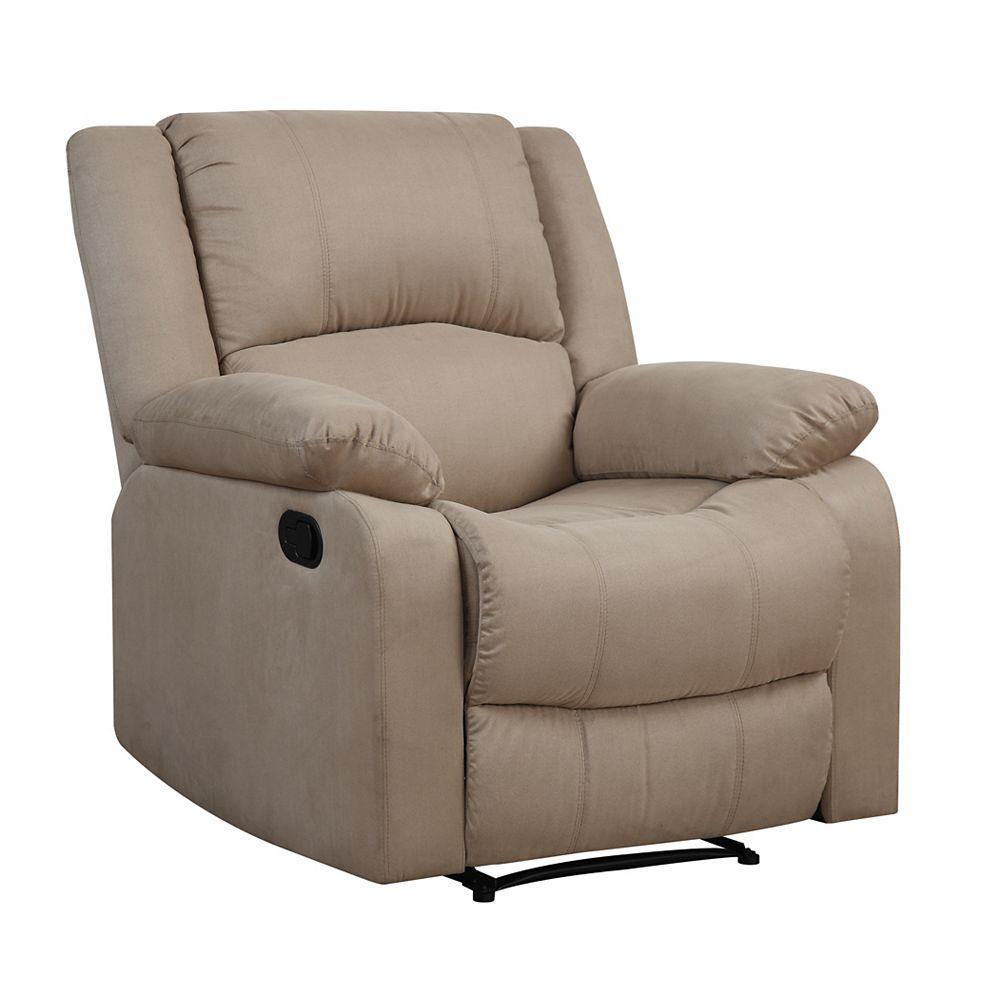 Lifestyle Solutions Pekin Recliner Chair w/ Multi-function Microfiber & Wood Frame, Beige