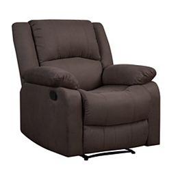 Pekin Recliner Chair w/ Multi-function Microfiber Fabric & Wood Frame, Chocolate