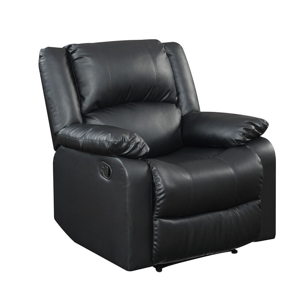 Lifestyle Solutions Pekin Recliner Chair w/ Multi-function Faux Leather & Wood Frame, Black