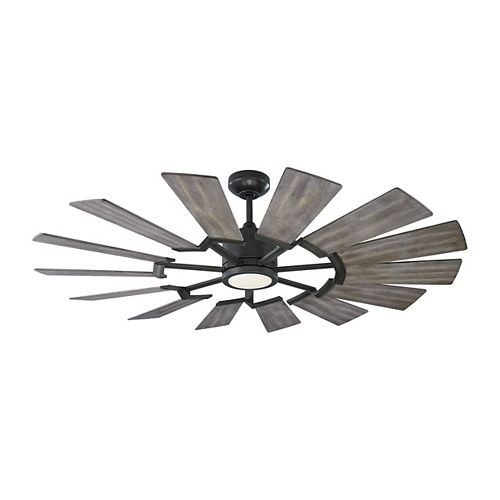 Prairie 52 in. Integrated LED Indoor/Outdoor Aged Pewter Ceiling Fan with Grey Weathered Oak Blades