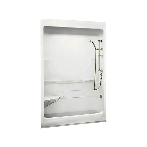 MAAX ALLEGRO I 59.25-inch 3-Piece Sectional Alcove Shower with Roof Cap, Left Seat, Right drain, in White