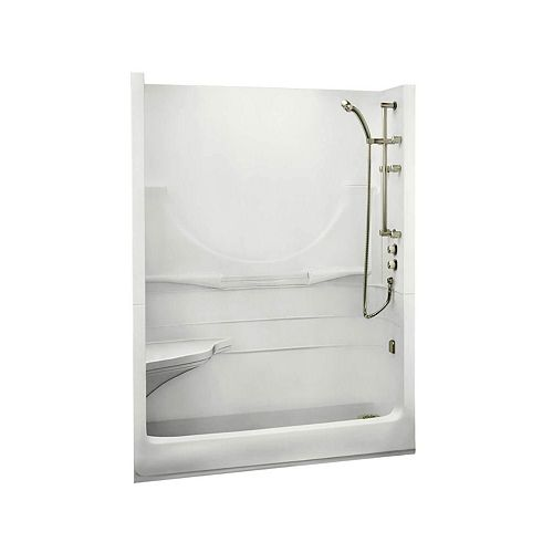 MAAX ALLEGRO I 59.25-inch 2-Piece Sectional Alcove Shower without Roof Cap Left Seat Right drain in White