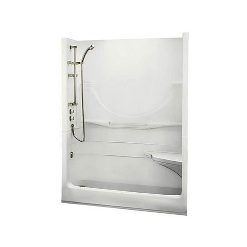 MAAX ALLEGRO I 59.25-inch 1-Piece Alcove Shower without Roof Cap, Right Seat, Left drain, in White