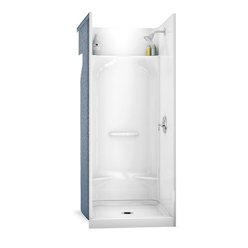 ESSENCE SH-3232 31.88-inch 4-Piece Sectional Alcove Shower No Seat, Center Drain, in White