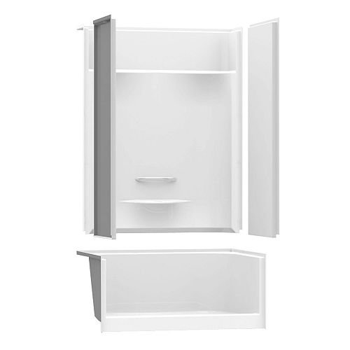 MAAX ESSENCE SH-4834 48-inch 4-Piece Sectional Alcove Shower No Seat, Center Drain, in White