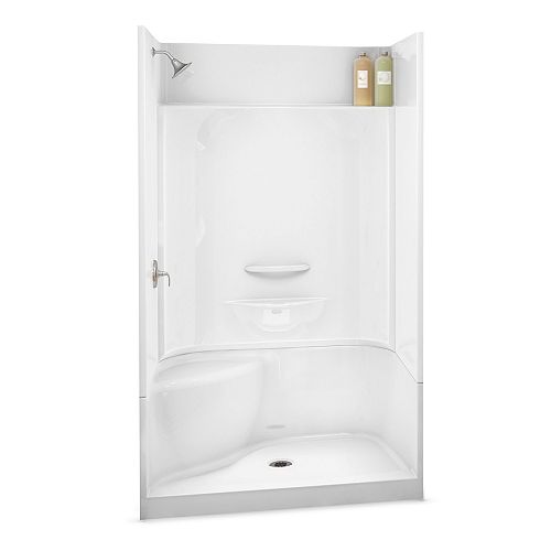ESSENCE SH-4834 48-inch 4-Piece Sectional Alcove Shower Left Seat, Center Drain, in White