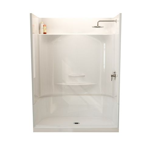 MAAX ESSENCE SH-6034 59.88-inch 4-Piece Sectional Alcove Shower No Seat, Center Drain, in White