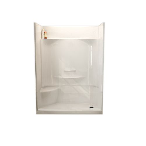 ESSENCE SH-6034 59.88-inch 4-Piece Sectional Alcove Shower Left Seat, Right Drain, in White